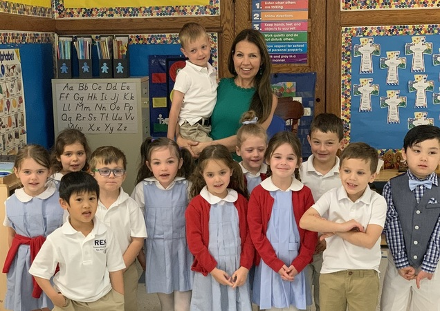 Pre K students with Ms. Fonte, School Principal